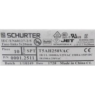 SCHURTER IEC/EN60127-2/5 SICHERUNG FUSE-LINKS 5x20mm 10 PIECES -unused-
