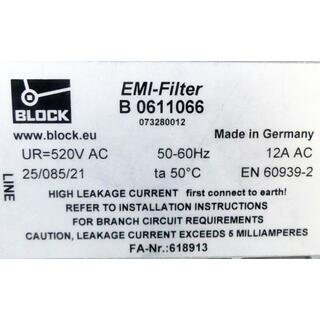 BLOCK B0611066 EMI-FILTER 50/60Hz 520V AC -used-