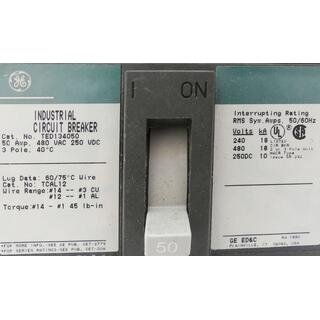 GE TED134050 Industrial Circuit Breaker 480V 50A -used-