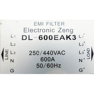 Electronic Zeng DL-600EAK3 EMI-Power Line Filter 250/440 VAC  600A 50/60Hz -used-